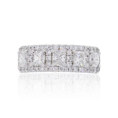 18k White Gold 2.35tw of Princess Cut and Round Brilliant Diamond Ring