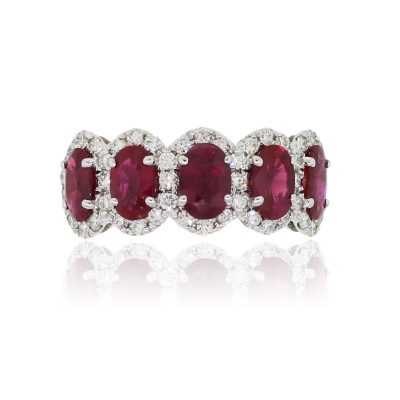 18k White Gold 2.90ctw Ruby and 0.53ctw Diamond Halo Ring