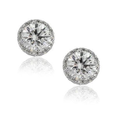 14k White Gold 2.69ctw Round Diamond With Halo studs