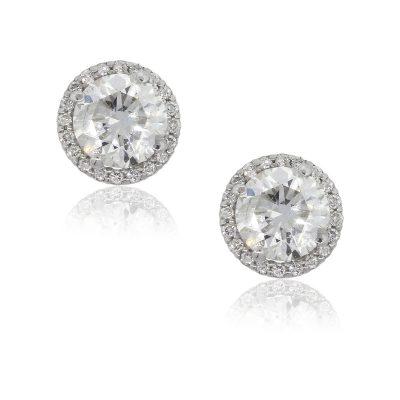 14k White Gold 3.45ctw Round Diamond With Halo Studs