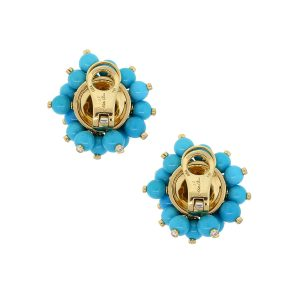 18k Yellow Gold 0.92ctw Diamond Turquoise Bead Cluster Earrings
