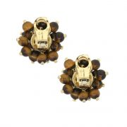 18k Yellow Gold 0.92ctw Diamond Tiger's Eye Bead Cluster Earrings