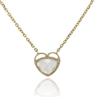 14k Yellow Gold 2.23ctw Diamond In Heart Shaped Bezel Necklace