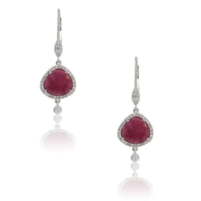 Meira T 14k White Gold 3.94ctw Ruby and 0.27ctw Diamond Drop Earrings