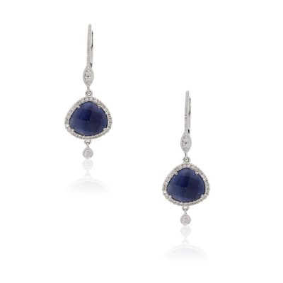 Meira T 14k White Gold 4.01ctw Sapphires and 0.26ctw Diamond Drop Earrings