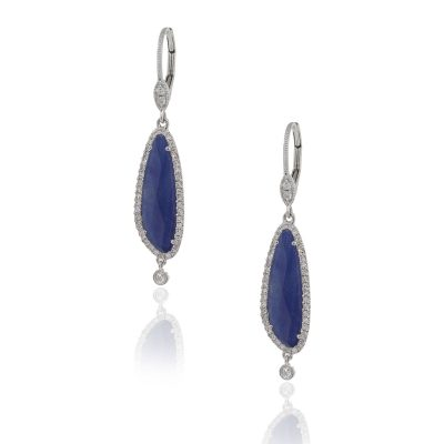 Meira T 14k White Gold 4.20ct Blue Sapphire With Diamonds Dangle Earrings