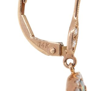 Meira T 14k Rose Gold 2.03ct Opal With Diamond Dangle Earrings