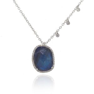 Meira T 14k White Gold 4.15ct Blue Labradorite With Diamond Dangle Necklace