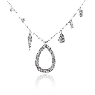 Meira T 14k White Gold 0.43ctw Diamond Pave Teardrop Dangle Necklace