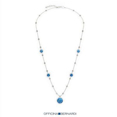 """Officina Bernardi 5 Station Blu MOP 18"""" Necklace"""