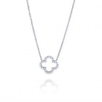 KC Designs 14k White Gold 0.16ctw Diamond Open Clover Pendant Necklace