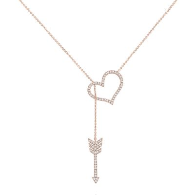 KC Designs 14k Rose Gold 0.30ctw Diamond Heart & Arrow Pendant Necklace