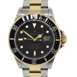 Rolex 16803 Submariner Two Tone Black Dial Watch