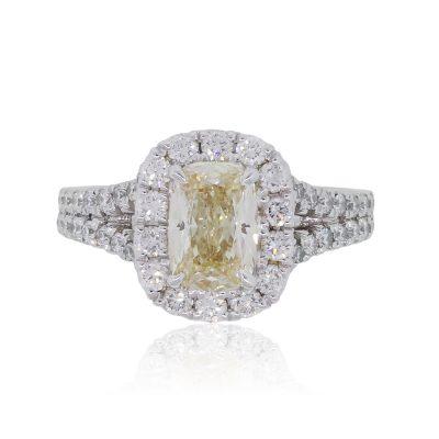 Henri Daussi AMDSY57 18k White Gold 1.13ct Fancy Yellow Cushion Cut Engagement Ring