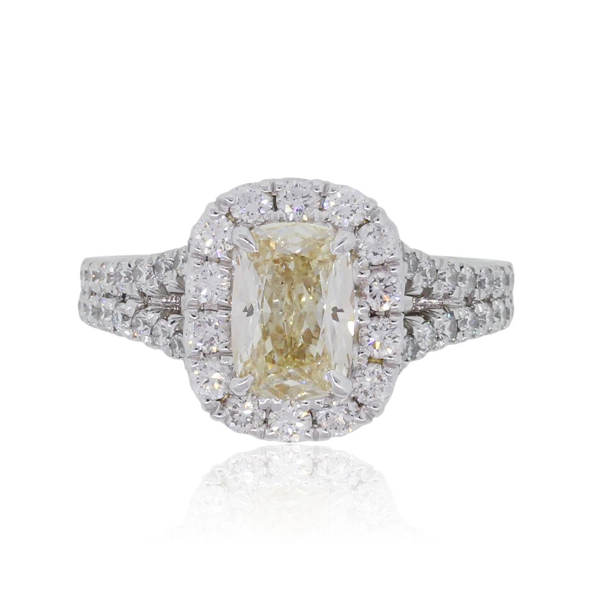 Henri Daussi AMDSY57 18k White Gold 1.13ct Fancy Yellow Cushion Cut Diamond Engagement Ring