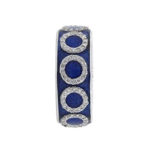 Tesoro 18k White Gold 0.40ctw Diamond Sapphire Blue Enamel Band
