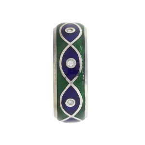 Tesoro 14k White Gold 0.04ctw Diamond Blue & Green Evil Eye Enamel Ring