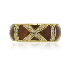 Tesoro 18k Yellow Gold 0.35ctw Diamond Mahogany Brown Enamel Band