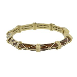 Tesoro 18k Yellow Gold 0.60ctw Diamond Brown Mahogany Enamel Bangle