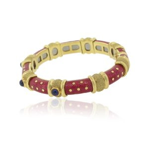 Tesoro 18k Yellow Gold Cabochon Sapphire Salmon Pink Enamel Bangle