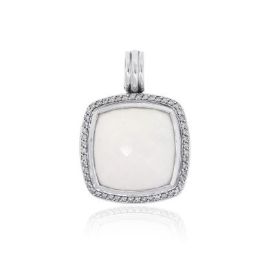 David Yurman Sterling Silver White Agate & Diamond Pendant