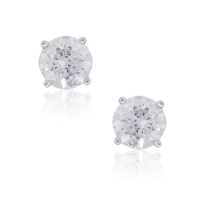 14k White Gold 0.70ctw Round Brilliant Diamond Stud Earrings