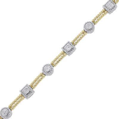 14k Two Tone 0.40ctw Diamond Cable Design Ladies Bracelet