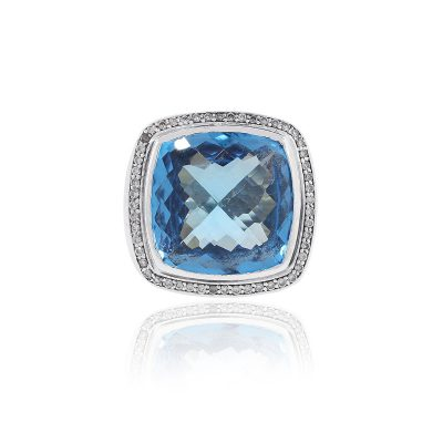 David Yurman Sterling Silver Blue Topaz & Diamonds Large Ring
