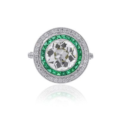 Platinum 3ct Round Diamond And Princess Cut Emerald Ring