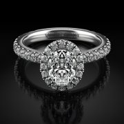 Verragio TR180HOV Tradition 14k White Gold 0.87ctw Diamond Oval Halo Engagement Mounting