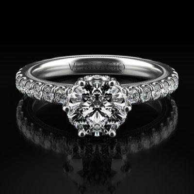 Verragio TR180TR Tradition 14k White Gold 0.76ctw Diamond Halo Engagement Mounting