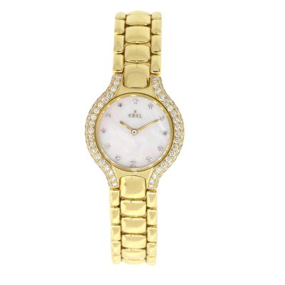 Ebel Beluga 18k Yellow Gold Mother of Pearl Diamond Dial Watch
