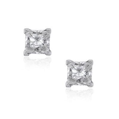 14k White Gold 0.69ctw Princess Cut Diamond Stud Earrings
