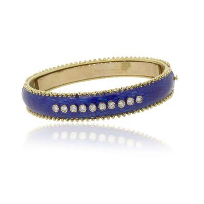 Tesoro 18k Yellow Gold 0.80ctw Diamond Cobalt Blue Enamel Bangle