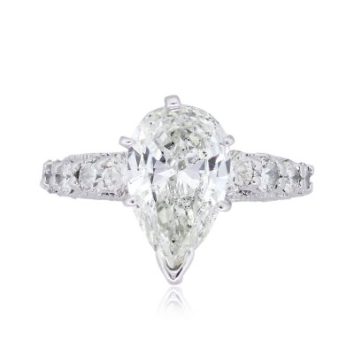 14k White Gold 2.89ctw Pear and Round Shape Diamond Engagement Ring