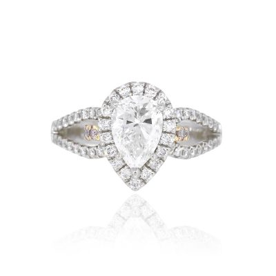 Simon G 1.06ct 18k White Gold Pear Shape GIA Diamond Engagement Ring