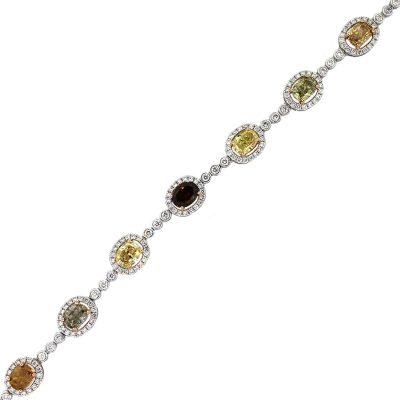 18k White Gold 9.01ct Fancy Colored Oval Diamond Ladies Bracelet