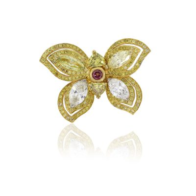 18k Two Tone 5.49ctw Diamond Butterfly Cocktail Ring