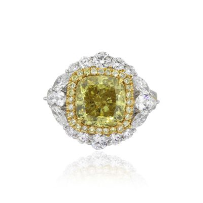 14k Two Tone 4.03ct Fancy Deep Yellow Cushion Diamond Engagement Ring