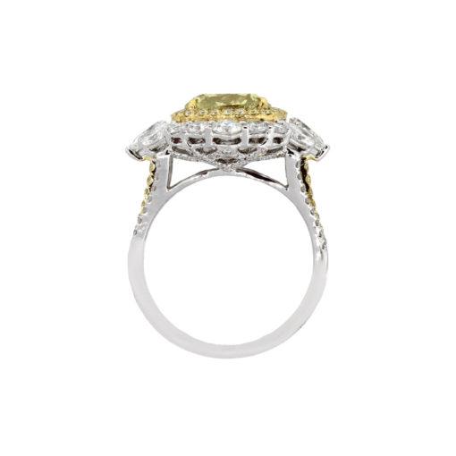 14k Two Tone 4.03ct Fancy Deep Yellow Cushion Diamond Engagement Ring