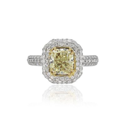 18k White Gold 2.01ctw Fancy Yellow Cushion Diamond Engagement Ring
