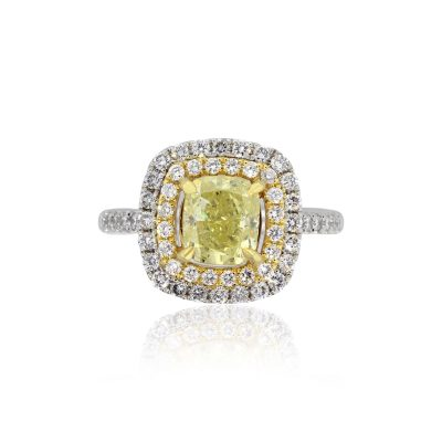 18k White Gold 1.71ct Cushion Intense Yellow GIA Diamond Engagement Ring