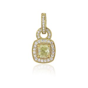 18k Yellow Gold 1.04ct Fancy Greenish Yellow Radiant GIA Diamond Pendant