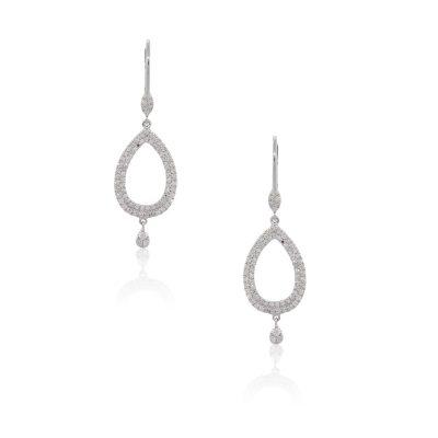 Meira T 14k White Gold 0.61ctw Diamond Pave Teardrop Dangle Earrings