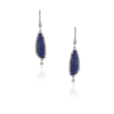 Meira T 14k White Gold 4.20ctw Blue Sapphire and 0.41ctw Diamond Elongated Earrings