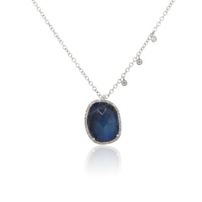 Meira T 14k White Gold Blue Labradorite and 0.14ctw Diamond Necklace