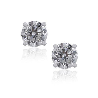 14k White Gold 1.10ctw Diamond Round Brilliant Stud Earrings