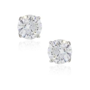 14k White Gold 4.01ctw Round Brilliant Diamond Stud Earrings