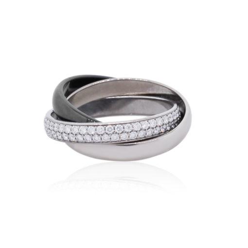Cartier Trinity 18k White Gold Ceramic and Diamond Size 47 Ring