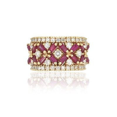 14k Yellow Gold 0.80ct Baguette Ruby With Diamonds Ladies Band